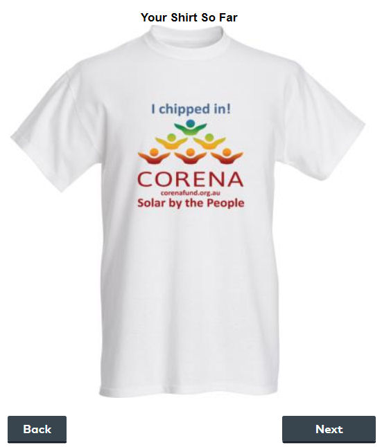 Wear a corena t shirt or use a corena mug at your desk at for Vista t shirt printing