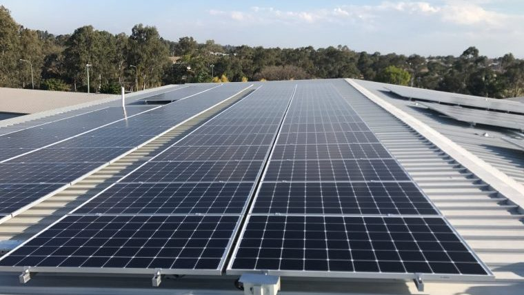 Solar panels on the roof of Apprenticeships Queensland
