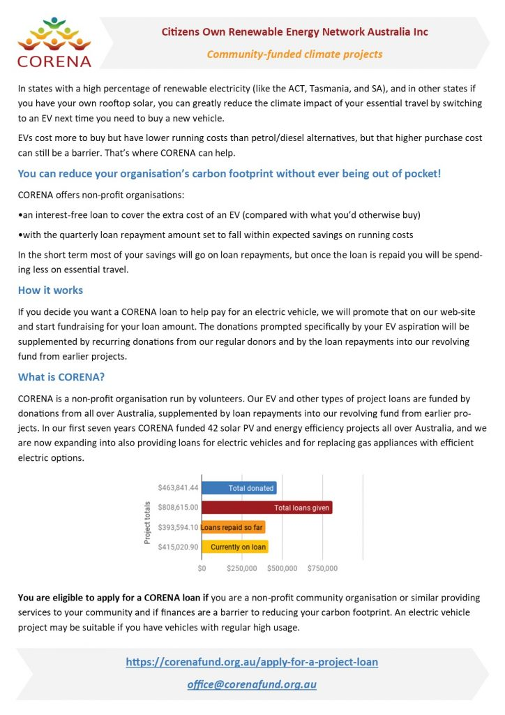 A4 information sheet about CORENA electric vehicle loans