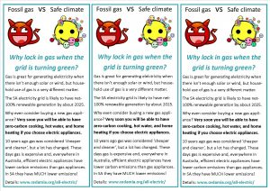 Flyer expaining reasons for getting off fossil gas