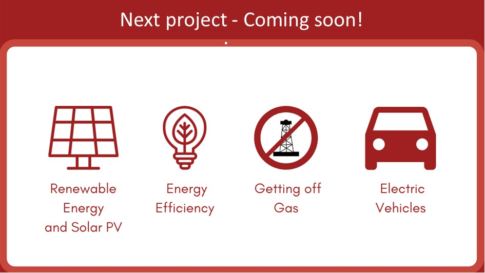 graphic showing potential project types - solar, energy efficiency, getting of gas, or electric vehicles